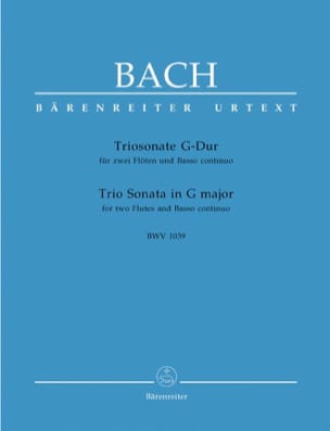 BACH - G-Dur Triosonate BWV 1039 - 2 Flöten Bc - Sheet Music - di-arezzo.co.uk