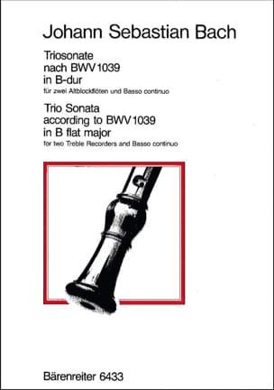 BACH - Triosonate B-Dur nach BWV 1039 - 2 Altblockflöten Bc - Partition - di-arezzo.fr