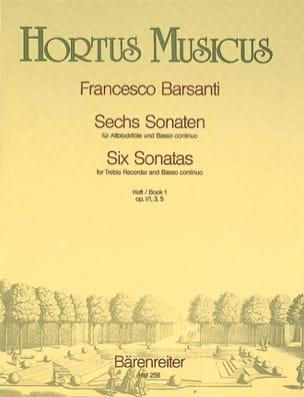 Francesco Barsanti - 6 Sonaten - Heft 1 – Altblockflöte u. Bc - Partition - di-arezzo.fr
