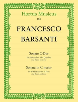 Sonate en Do Maj. Francesco Barsanti Partition laflutedepan
