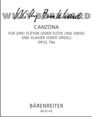 Canzona op. 76a –2 Flöten Klavier - Willy Burkhard - laflutedepan.com