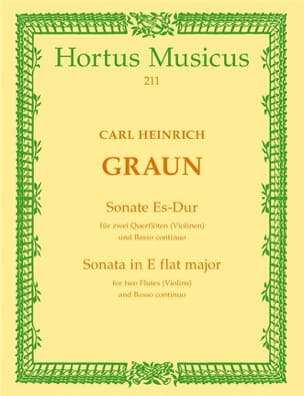 Carl Heinrich Graun - Sonate Es-Dur – 2 Flöten (Violinen) Bc - Partition - di-arezzo.fr