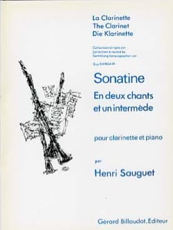 Sonatine - Henri Sauguet - Partition - Clarinette - laflutedepan.com