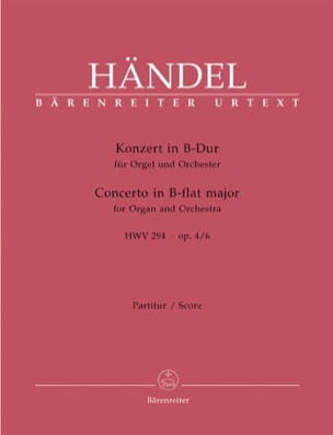 Orgelkonzert B-Dur Op. 4/6 Hwv 294 - Partitur HAENDEL laflutedepan
