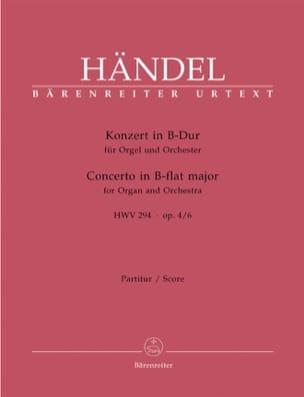 HAENDEL - Orgelkonzert B-Dur Op. 4/6 Hwv 294 - Partitur - Partition - di-arezzo.co.uk