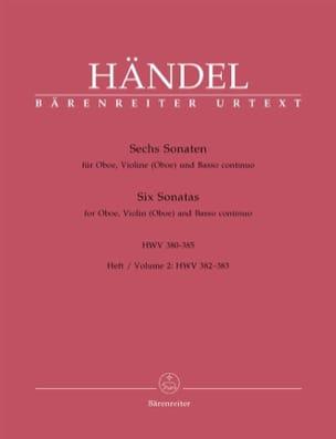 HAENDEL - 6 Sonaten HWV 380-385 - Heft 2 : 382-383 - Oboe Violine Oboe) u. Bc - Partition - di-arezzo.fr