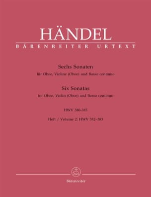 Georg Friedrich Haendel - 6 Sonaten HWV 380-385 - Heft 2 : 382-383 – Oboe Violine (Oboe) u. Bc - Partition - di-arezzo.fr
