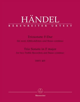 HAENDEL - Triosonate F-Dur HWV 405 - 2 Altblockflöten u. Bc - Partition - di-arezzo.fr