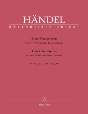 HAENDEL - 2 Triosonaten op. 5 n ° 1 und 7 HWV 402, 396 - Stimmen - Sheet Music - di-arezzo.com
