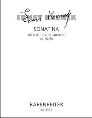 Ernst Krenek - Sonatina op. 92/2b - Flöte und Klarinette - Partition - di-arezzo.fr
