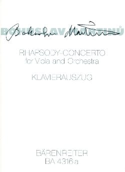 Bohuslav Martinu - Rhapsody-Concerto - Viola Klavier - Sheet Music - di-arezzo.co.uk