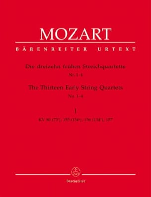 MOZART - the first 13 string quartets, notebook 1 KV 80,155,156,157 - instrumental parts - Sheet Music - di-arezzo.co.uk