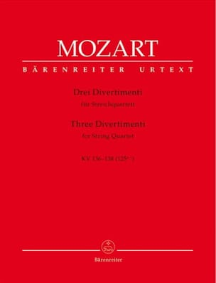MOZART - 3 Divertimenti KV 136-138 125a-c - Streichquartett - instrumental parts - Sheet Music - di-arezzo.co.uk