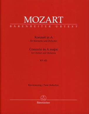 MOZART - Clarinet Concerto in A major K 622 - clarinet version in La - Sheet Music - di-arezzo.co.uk