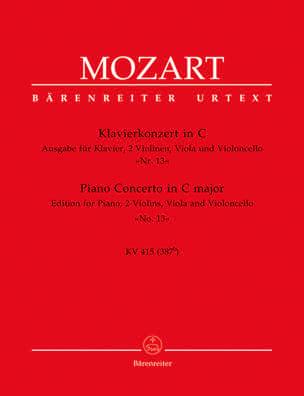 MOZART - Klavierkonzert Nr. 13 C-Dur KV 415 (387b) -Quintett - Partition - di-arezzo.fr