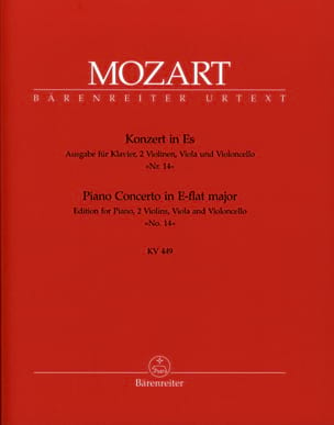 MOZART - Concerto pour piano Nr. 14 Es-Dur KV 449 -version pour quintette. - Partition - di-arezzo.fr