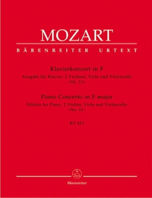 MOZART - Klavierkonzert in F - K.413 - Partition - di-arezzo.fr