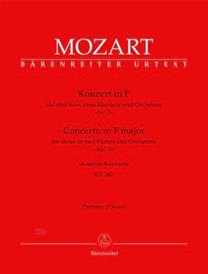 MOZART - Klavierkonzert Lodron-Konzert F-Dur KV 242 – Partitur - Partition - di-arezzo.fr