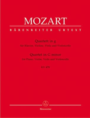 MOZART - Quartet in G minor KV 478 - instrumental parts - Sheet Music - di-arezzo.co.uk