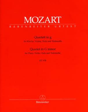 Wolfgang Amadeus Mozart - Quatuor en sol mineur KV 478 –parties instrumentales - Partition - di-arezzo.fr
