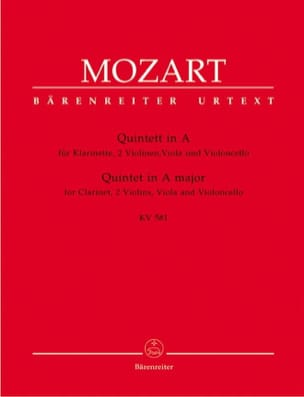 MOZART - Quintet in Major KV 581 - Clarinet and string quartet. Instrument parts - Sheet Music - di-arezzo.com