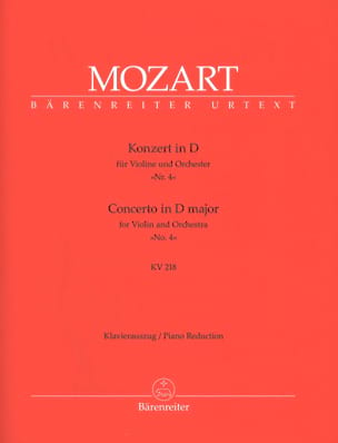 MOZART - Violin Concerto No. 4 D Major KV 218 - Partition - di-arezzo.com