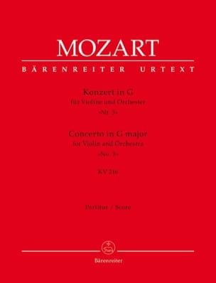 MOZART - Violin Concerto in G Major KV 216 - Partitur - Sheet Music - di-arezzo.co.uk