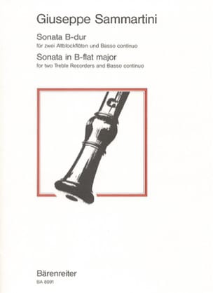 Sonate B-Dur -2 Altblockflöten BC - SAMMARTINI - laflutedepan.com