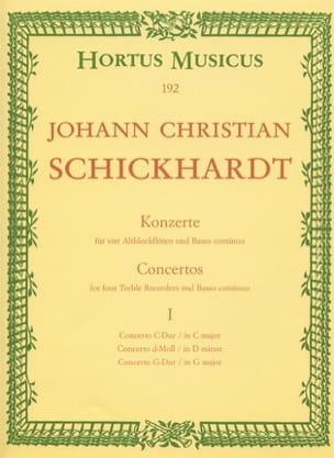 Johann Christian Schickhardt - 6 Konzerte - Bd. 1 : n° 1-3 – 4 Altblockflöten und BC - Partition - di-arezzo.fr