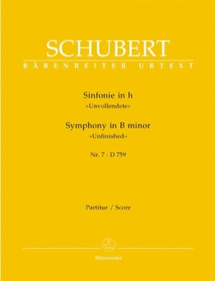 SCHUBERT - Symphony No. 7 h-moll D. 759 - Partitur - Sheet Music - di-arezzo.co.uk