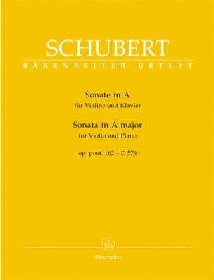 SCHUBERT - Sonate A-Dur op. posth. 162 - D 574 - Partition - di-arezzo.fr