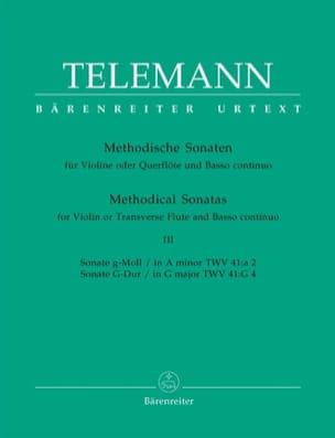 TELEMANN - 12 Methodische Sonaten - Bd. 3 - Flöte Violine u. Bc - Partition - di-arezzo.fr