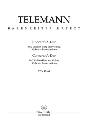 Georg Philipp Telemann - Concerto A-Dur TWV 43 : a4 –Partitur + Stimmen - Partition - di-arezzo.fr
