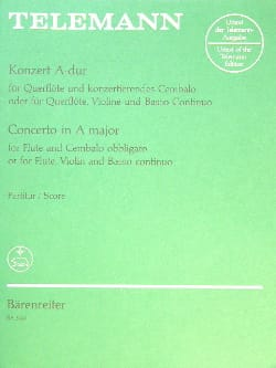 TELEMANN - Concerto en La Majeur pour flute et clavecin - Partition - di-arezzo.fr