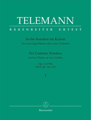 TELEMANN - 6 Sonates en canon op. 5 volume 1 - 2 flutes ou 2 violons - Partition - di-arezzo.fr