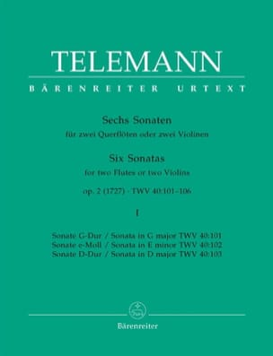 TELEMANN - 6 Sonatas op. 2 Volume 1 for 2 Flutes or 2 violins - Sheet Music - di-arezzo.co.uk