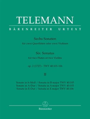 TELEMANN - 6 Sonatas op. 2 Volume 2 for 2 Flutes or 2 violins - Sheet Music - di-arezzo.co.uk