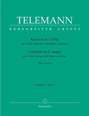 TELEMANN - Concerto Pour Alto En Sol M.Twv 51: G9 - Conducteur - Partition - di-arezzo.fr