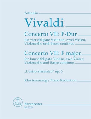 Antonio Vivaldi - Concerto Nr. 9 F-Dur –4 Violinen Klavier - Partition - di-arezzo.fr