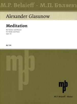 Alexandre Glazounov - Meditation op. 32 - Sheet Music - di-arezzo.co.uk