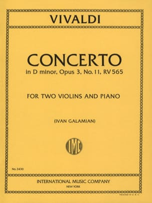 Concerto D minor op. 3 n° 11 RV 565 -2 Violins piano laflutedepan