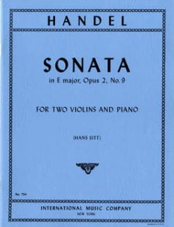Georg Friedrich Haendel - Sonata E major op. 2 n° 9 –2 violins piano - Partition - di-arezzo.fr