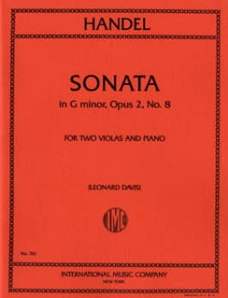 HAENDEL - Sonata G minor op. 2 n° 8 - 2 Violas piano - Partition - di-arezzo.fr