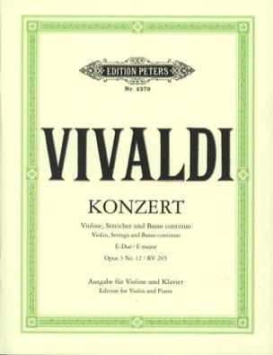 Antonio Vivaldi - Concerto mi majeur op. 3 n° 12 - RV 265 - Partition - di-arezzo.fr
