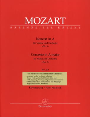 MOZART - Concerto No. 5 The Major KV 219 - Partition - di-arezzo.co.uk