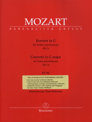 Wolfgang Amadeus Mozart - Concerto No. 3 G Major Sol KV 216 - Sheet Music - di-arezzo.co.uk