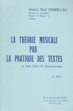Francis-Paul Demillac - The musical theory ... - 5th series Questionnaire - Sheet Music - di-arezzo.com
