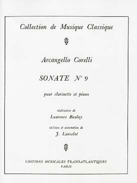 Arcangelo Corelli - Sonata for Clarinet n ° 9 - Sheet Music - di-arezzo.co.uk