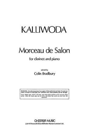 Johannes Wenzeslaus Kalliwoda - Morceau De Salon Op. 229 - Clarinette - Partition - di-arezzo.fr