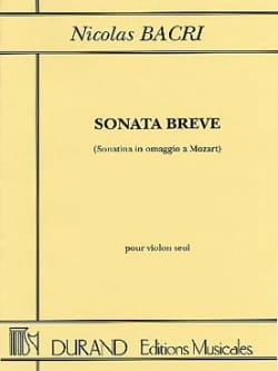 Nicolas Bacri - Sonata Breve op. 45 - Sheet Music - di-arezzo.co.uk